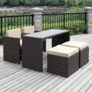 Wicker bistro set, Rattan bar set, Rattan folding table