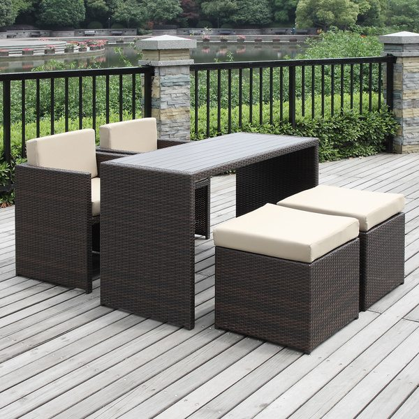 Wicker bistro set, Rattan bar set, Rattan folding table