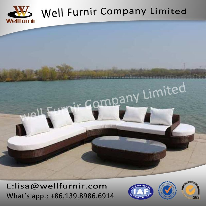 Well Furnir 6 Seaters Round End Extra-Large Lounge Rattan Sofa Suite ...