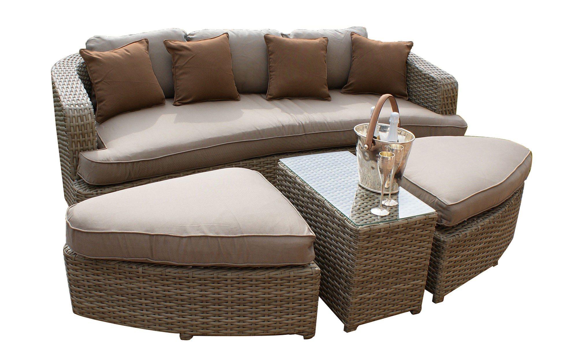 Well Furnir 4 Piece outdoor rattan sofa bed   Wellfurnir