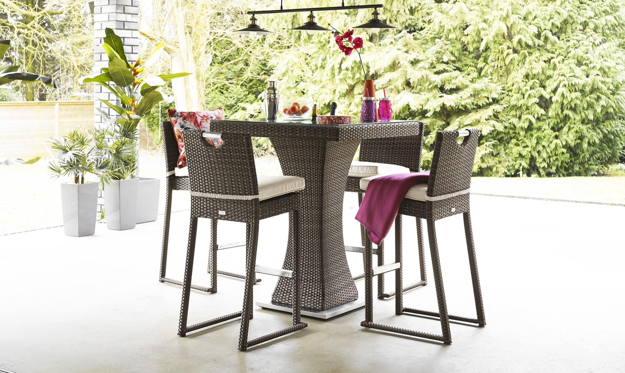 well furnir brown color 4 seat square bar set with ice bucket rattan garden set wellfurnir. Black Bedroom Furniture Sets. Home Design Ideas
