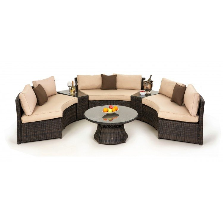 Top Glass Round Table Garden Furniture, Half Moon Couch Furniture